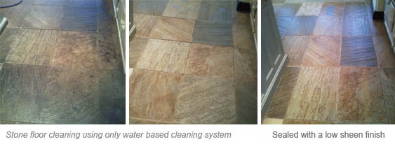 Deep cleaning and sealing stone floors